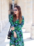 Green floral dress – Elodie in Paris