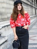 Red & Denim – Elodie in Paris