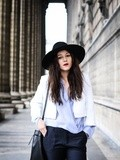White & blue outfit – Elodie in Paris