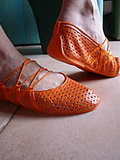 Ballerines effets lacets orange t 39 neuf bluewax
