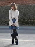 Bell sleeve & denim skirt