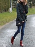 Striped top & Red booties
