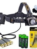 Fenix HP15 500 Lumen long throw led Headlamp (Grey) with diffuser, genuine Leatherman Wingman Multi-tool 831426 and Four EdisonBright aa Alkaline batteries bundle